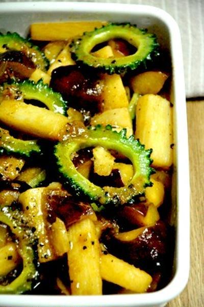 ゴーヤと茄子と長芋のマリネ