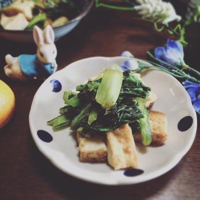 副菜に☆ササっと小松菜と厚揚げ豆腐の中華風(?)炒め