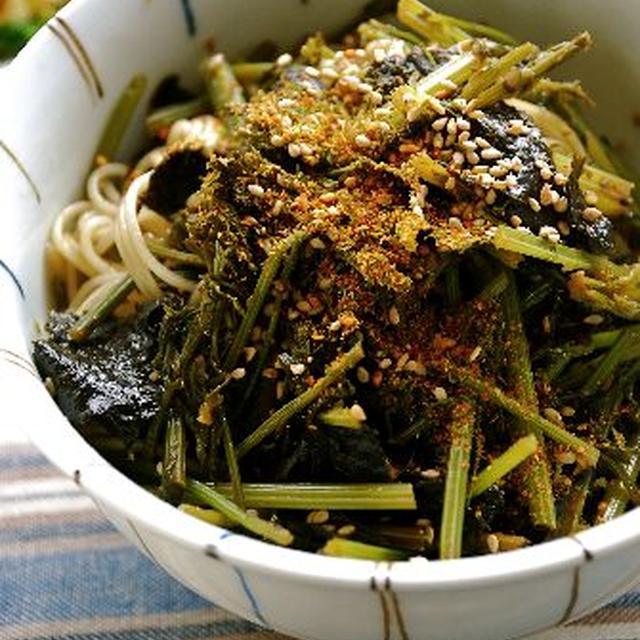 人参葉の海苔和え煮麺