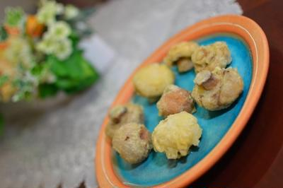 2色マッシュルームの天ぷら
