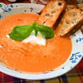 トマト&2種のチーズのスープ ~ トマトの海にモッツァレッラ・アイランド♬ by mayumiたんさん