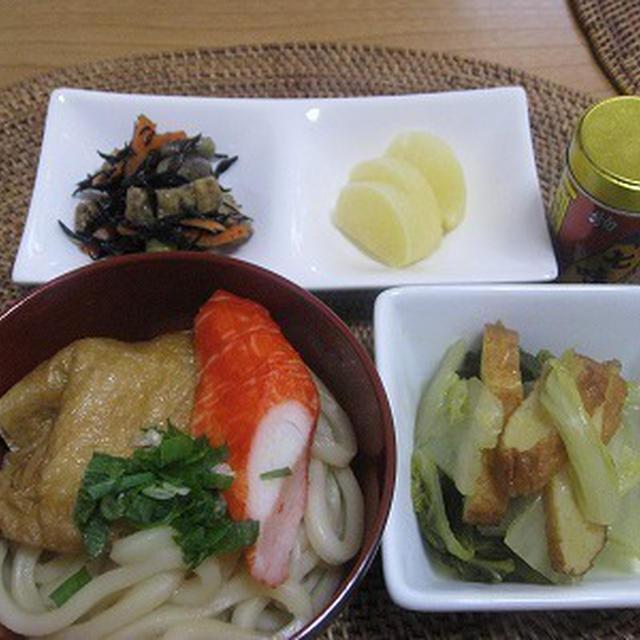 きつねうどんと白菜のカレー煮で朝ごはん&大根の葉っぱでふりかけ作成