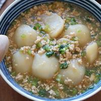 葉っぱの栄養丸ごと♡カブの生姜そぼろ煮de晩ゴハン
