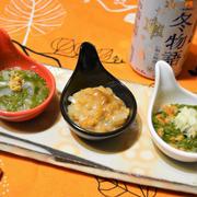 めかぶ、納豆、イカ、塩ウニでおつまみ盛り合わせ。ありもので簡単すぐ飲み。