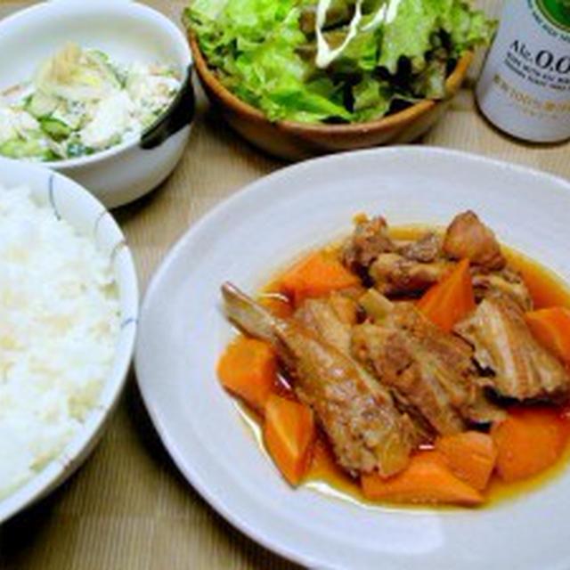 【簡単・完全・無欠】圧力鍋でスペアリブの煮物、キュウリとオクラの白和え