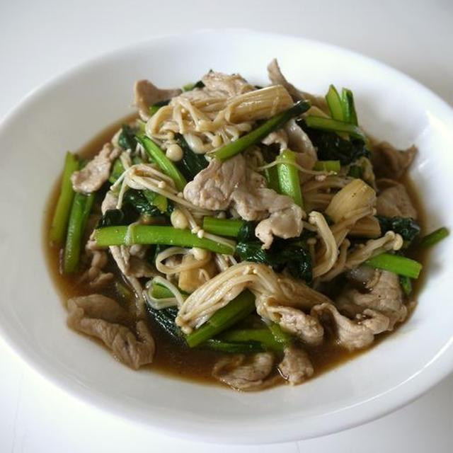 豚肉の小松菜とえのき茸の焼肉のタレ炒め♪