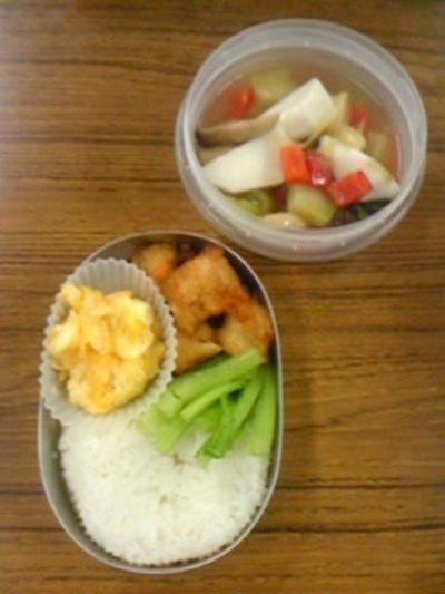 生姜揚げ天と彩りスープの弁当