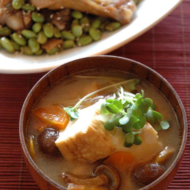 厚揚げ具だくさん味噌スープ。