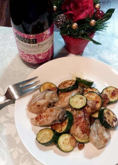 牡蠣とズッキーニのアーリオオーリオ