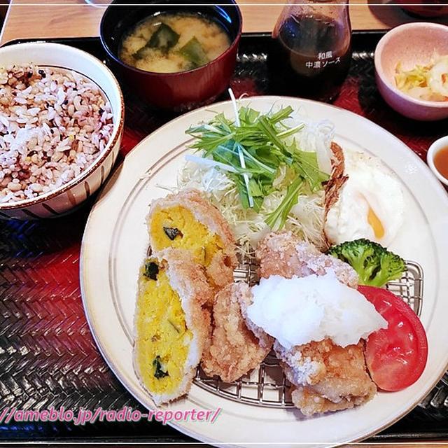 大戸屋ランチ定食(鶏の竜田揚げ、かぼちゃコロッケ)五穀米チョイス