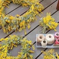 花のある暮らし vol.1 贅沢にミモザを使ったリースやアレンジ
