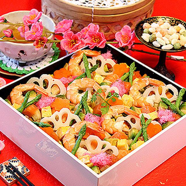 雑穀米で野菜たっぷり華やかバラちらし寿司☆ひなまつりにも・・・