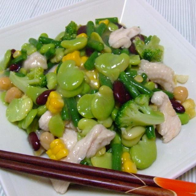 ぷるぷる鶏胸肉と夏野菜の塩炒め