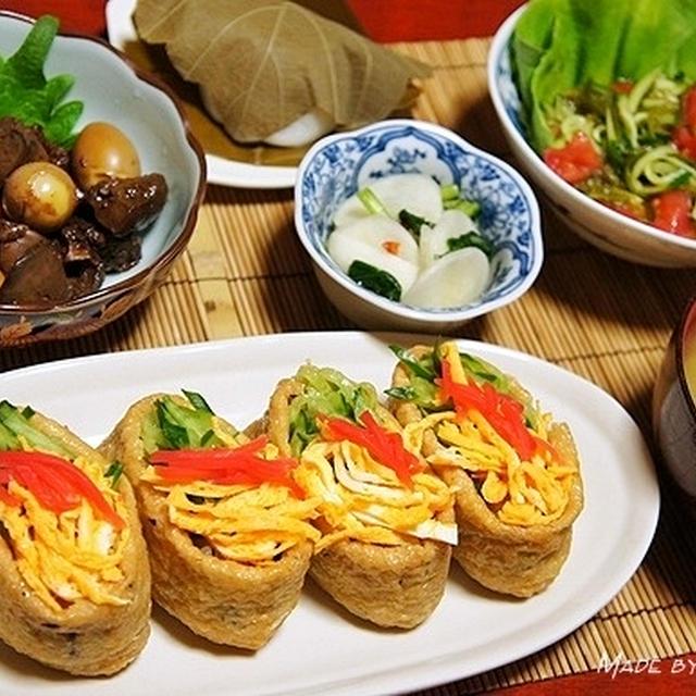 飾り稲荷寿司と女性にお勧め<鶏レバーのソース煮>
