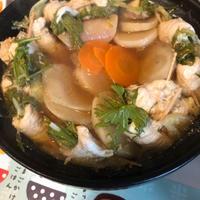 鍋しゃぶつゆで、水菜のくるりん鍋♪