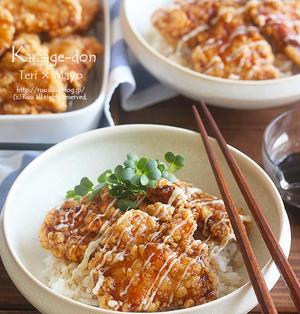 【レシピ】照りマヨ唐揚げ丼。