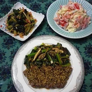 本日の夕食「牛肉のスパイスステーキ」「スモークサーモンとトマトのサラダミント風味」