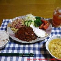 【夕食】煮込みハンバーグプレート・玉ねぎのかき玉コンソメスープ…
