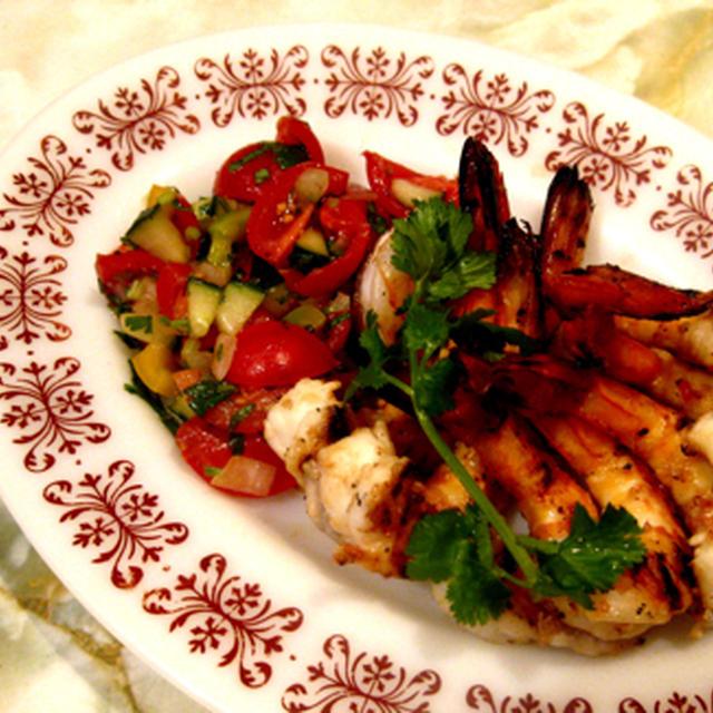 焼き海老とミニトマトのサルサ。