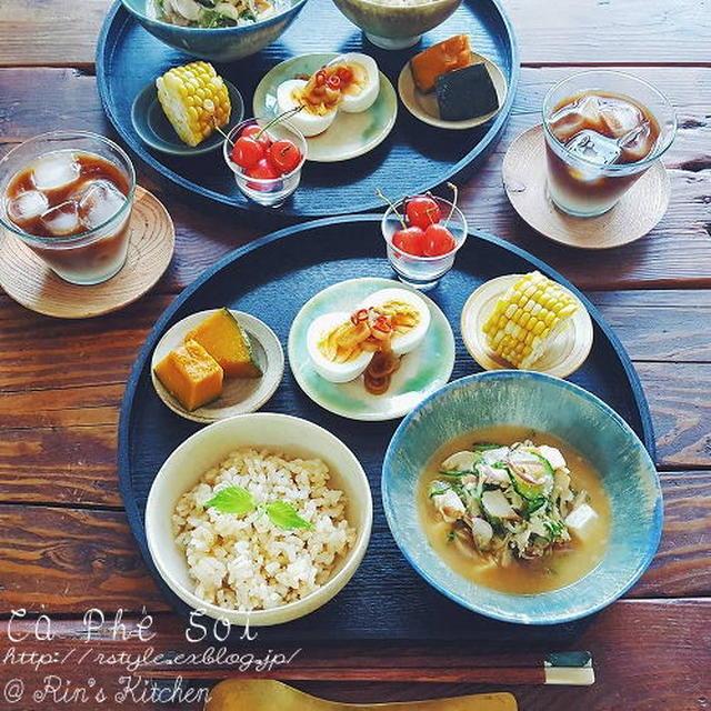 朝ごはん☆ほっけの冷や汁定食