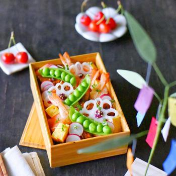 七夕ちらし寿司のお弁当と ✽ 願いをこめて