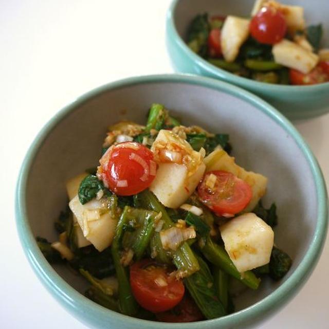 イカの小松菜とミニトマトの中華和え♪