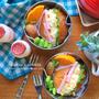 今日のお弁当はロールパンでハム卵サンド〜!
