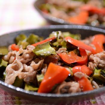 豚こま肉と四角豆のオイスターソース炒め