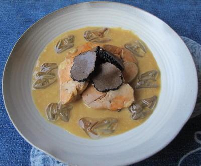 あん肝と酢味噌ソース・じゅんさい・トリュフ添え  8・18・2012