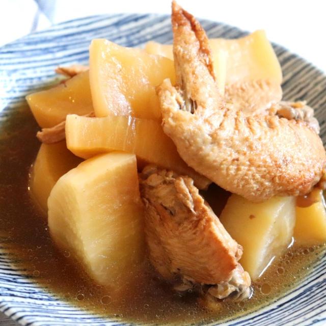 【材料!圧力鍋レシピ】鶏手羽先と大根のバター醤油煮込み