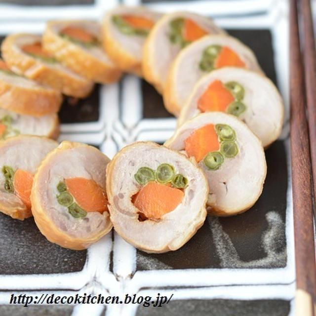 レンジだけでできる「彩り野菜入りチキンロール」~日々の作り置き・パーティメニュー・おせちにもおすすめです。