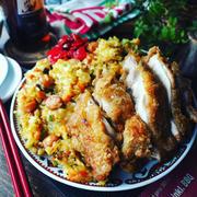 まんまるやな❤️と、フライパン1つでめちゃ簡単❤️チーズカレーチャーハンとやみつき揚げ鶏♪