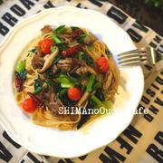 小松菜と豚コマのニンニク醤油の和風パスタ
