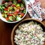 キュウリ&トマトのサラダとマカロニサラダ