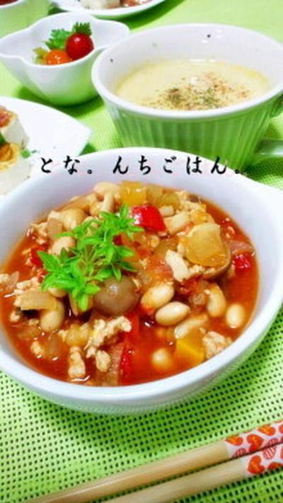 ズッキーニ&大根の豆乳スープ 笑 と、チキンビーンズ&フォカッチャ♪