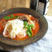 鯖缶と野菜ジュースで冷麺とスープ