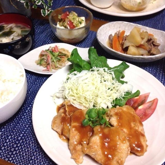 胸肉のピリ辛味噌ダレとオススメ副菜2品!