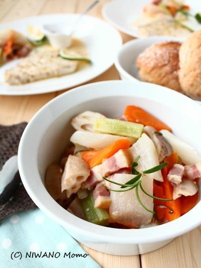 お鍋ひとつでメインにも副菜にも! ベーコンと根菜のブレゼ(蒸し煮)