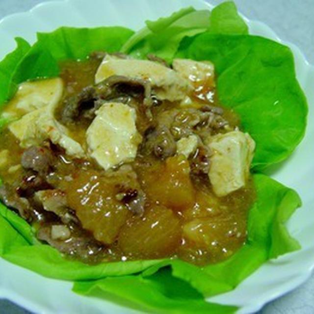 トマトと豚肉の麻婆豆腐