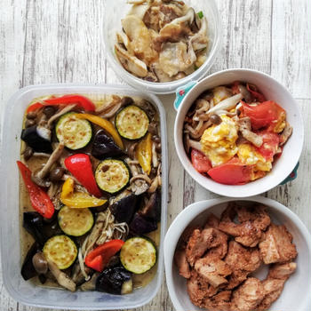 【作りおき】豚バラ肉のおろし煮、夏野菜マリネなど