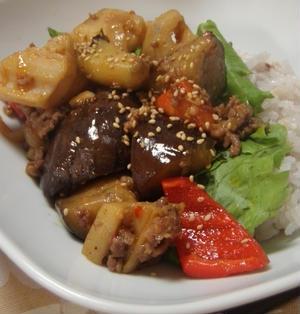 麻婆茄子&レンコン丼