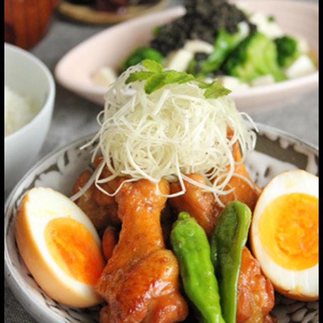 食費おたすけ500円献立!鶏手羽煮卵とブロッコリーと豆腐の胡麻和え