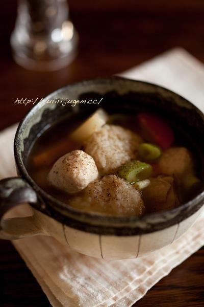 麦飯団子のスープ