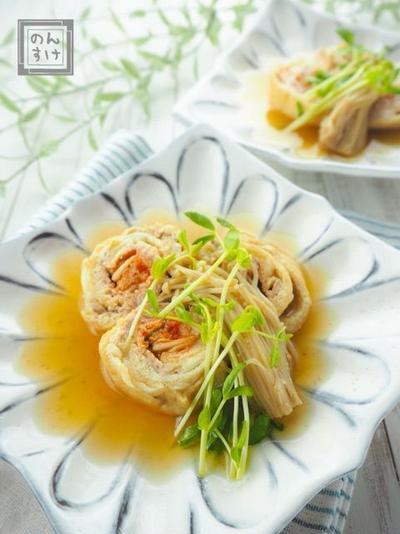 【レシピ・献立】ジュワ〜っと美味しすぎる油揚げの豚キムチロール