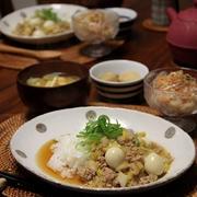 白菜とひき肉のあんかけご飯。