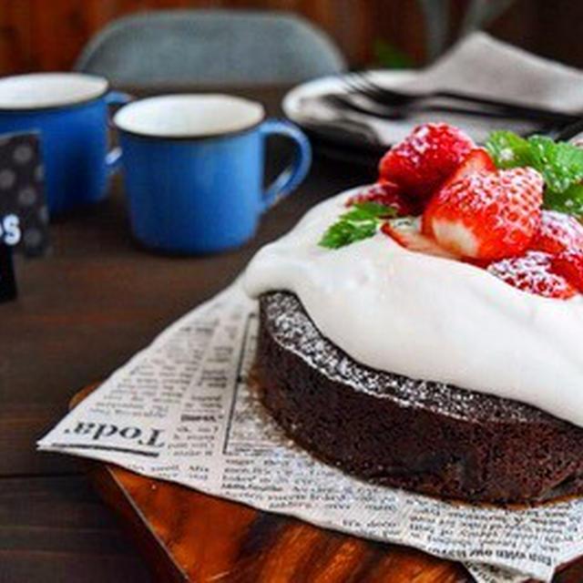 【レシピ】混ぜて焼くだけ  生クリームショコラケーキ