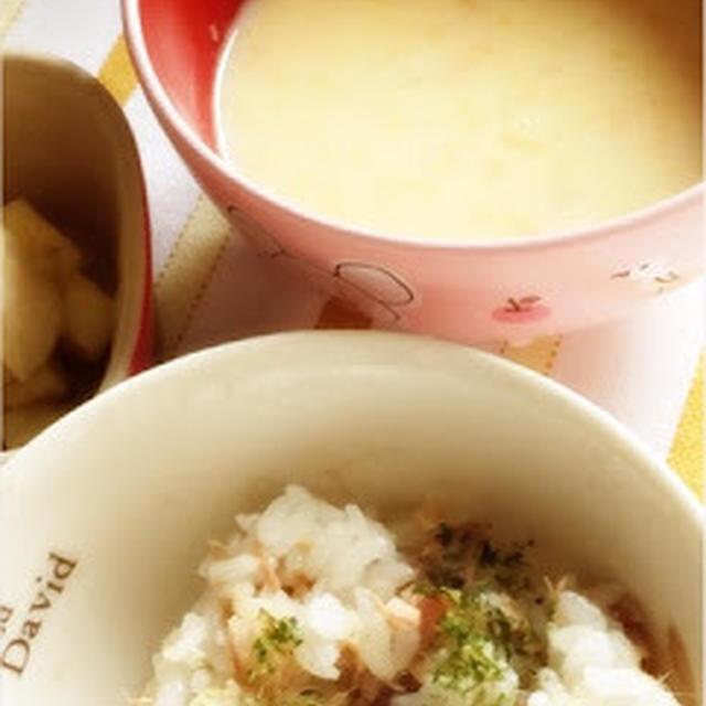 260日目-1 ご飯60g+ツナ缶20g+野菜スープ80g+豆乳+ブイヨン+バナナ1/3本
