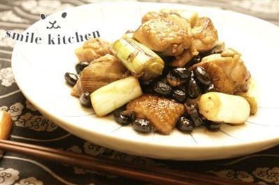 黒豆と鶏肉・ねぎのしょうが炒め