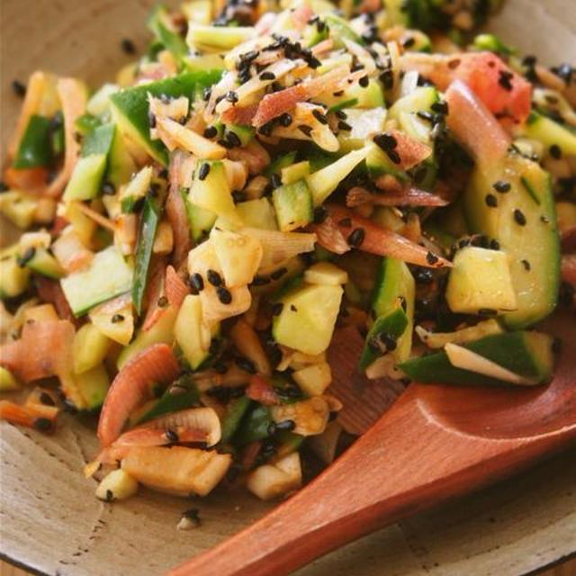 きゅうりとみょうがの韓国風チョップサラダ
