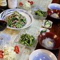 ◆島唐辛子の枝豆ペペロンとゴーヤ豚ロースソテーでおうちごはん♪